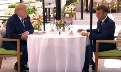 Donald Trump e Emmanuel Macron durante almoço no G7