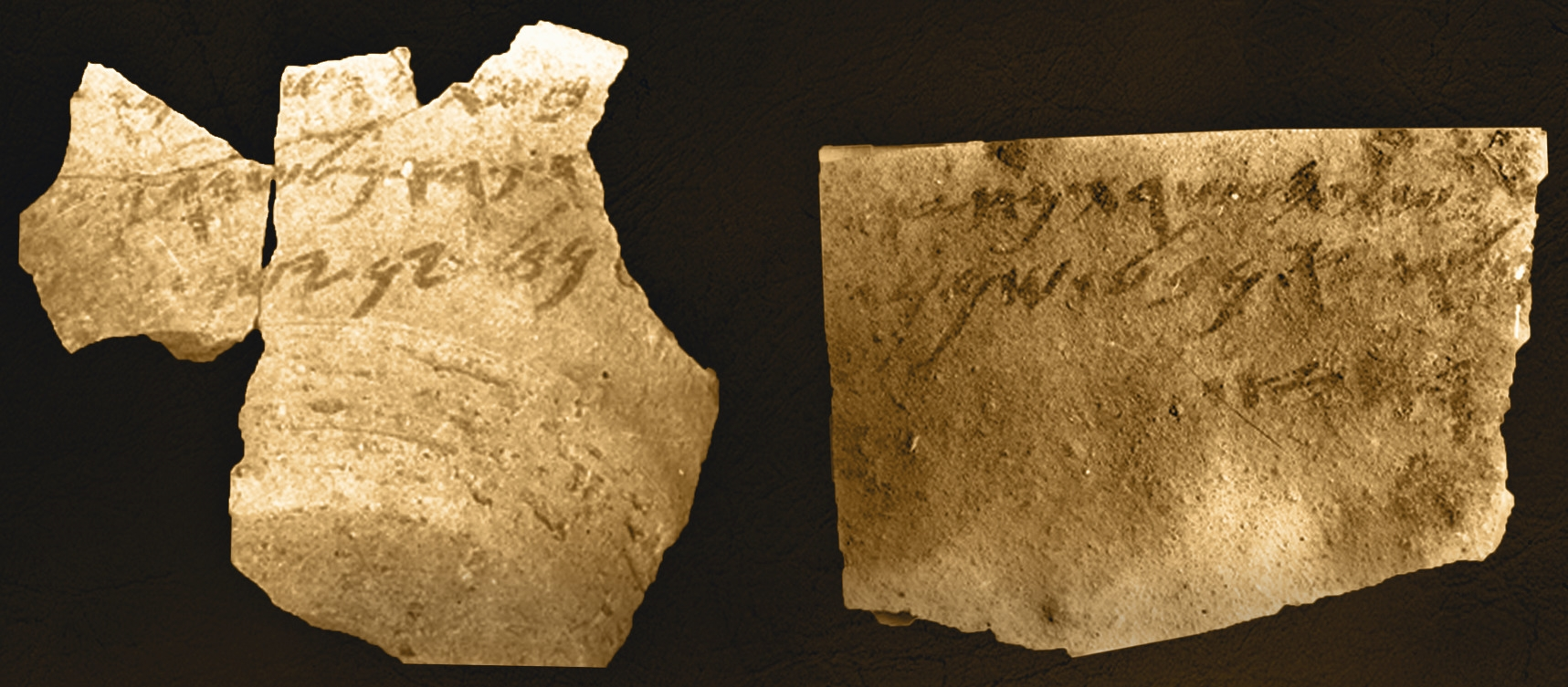 Artefato arqueológico com inscrições de Samaria (The Semitic Museum of Harvard University)