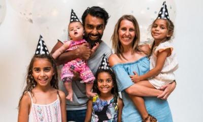 Chrishan e Danielle Jeyaratnam com os filhos