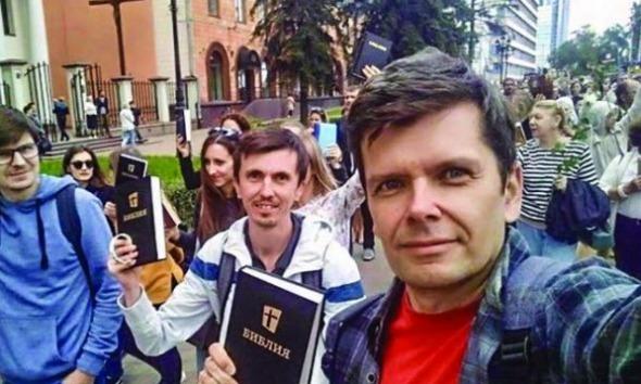Cristãos durante manifestação na Bielorrusia