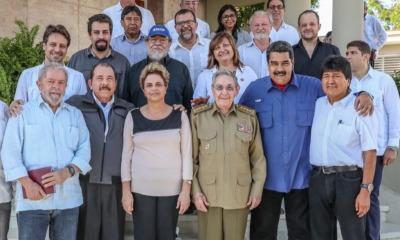 Dilma Rousseff e Lula posam ao lado de ditadores