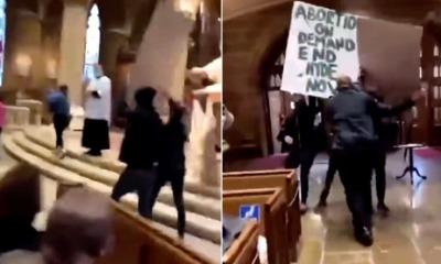 Grupo pró-aborto vandalizando igreja